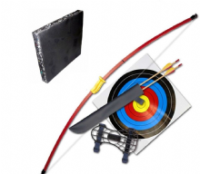 "Silco Family Garden 44"" Red Recurve Longbow - Full Starter Kit with Foam Boss"